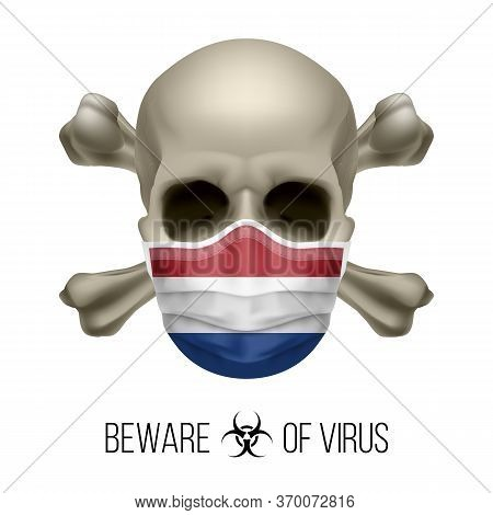 Human Skull With Crossbones And Surgical Mask In The Color Of National Flag Netherlands. Mask In For