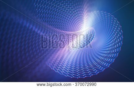 3d Illustration Abstract Background. Conceptual Image With Hexagonal Structure Connection. Graphene
