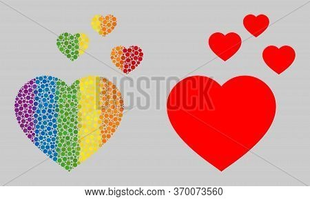 Favorite Hearts Composition Icon Of Filled Circles In Various Sizes And Spectrum Multicolored Shades