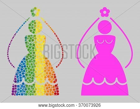 Bride Composition Icon Of Spheric Blots In Variable Sizes And Rainbow Bright Color Tints. A Dotted L