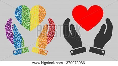 Love Heart Care Hands Composition Icon Of Round Items In Different Sizes And Rainbow Colored Color T