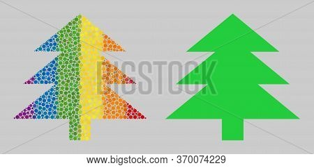 Fir Tree Composition Icon Of Spheric Blots In Variable Sizes And Spectrum Color Tints. A Dotted Lgbt