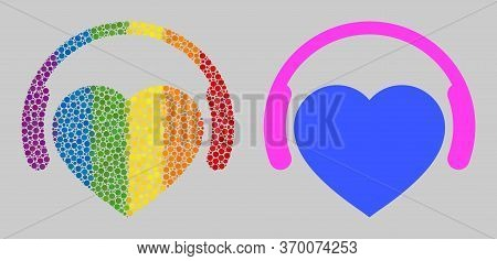 Favourite Headphones Mosaic Icon Of Round Dots In Variable Sizes And Spectrum Colorful Color Tinges.
