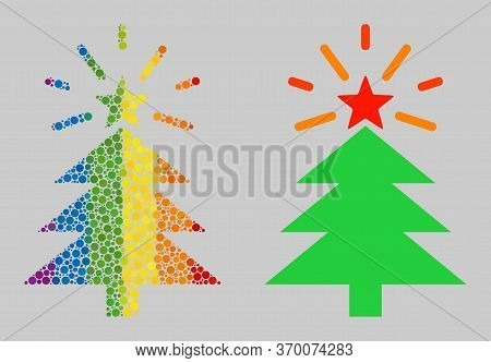 Shine Christmas Tree Composition Icon Of Round Dots In Various Sizes And Rainbow Colored Color Tints