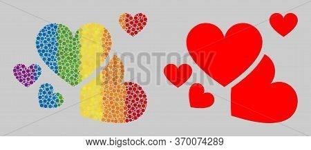Love Hearts Mosaic Icon Of Round Items In Variable Sizes And Rainbow Colorful Color Tones. A Dotted