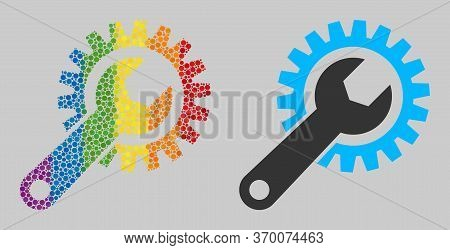 Repair Gear Mosaic Icon Of Spheric Dots In Variable Sizes And Rainbow Colored Color Hues. A Dotted L