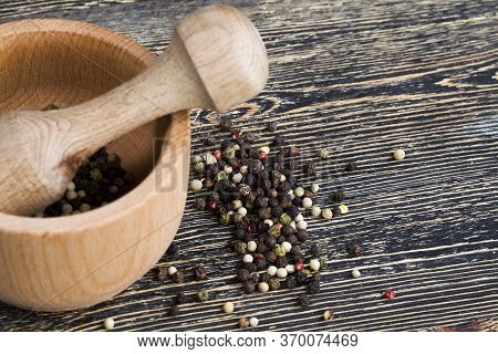 Simple Round Wooden Mortar For Grinding Dried Peppers And Others, Closeup There Are Different Types