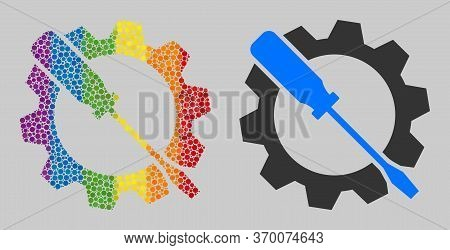 Wrench Tuning Mosaic Icon Of Circle Spots In Different Sizes And Rainbow Colored Color Tones. A Dott