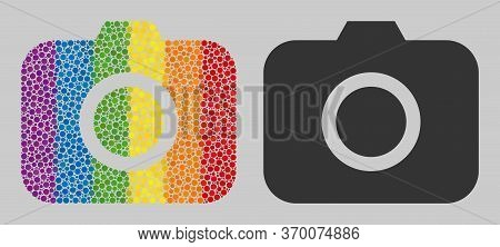Photocamera Collage Icon Of Round Dots In Variable Sizes And Rainbow Color Tinges. A Dotted Lgbt-col
