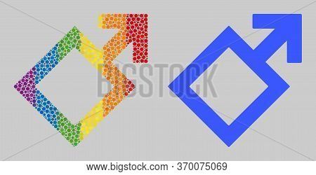 Male Symbol Composition Icon Of Circle Spots In Variable Sizes And Spectrum Color Tinges. A Dotted L