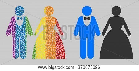 Groom With Bride Collage Icon Of Spheric Dots In Different Sizes And Spectrum Colored Color Tones. A
