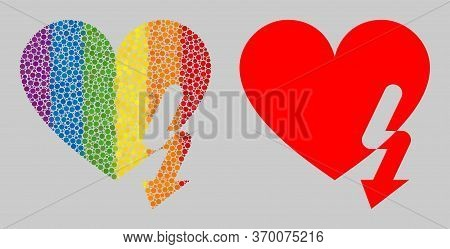 Love Heart Strike Composition Icon Of Round Dots In Various Sizes And Spectrum Colored Color Tinges.