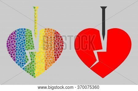 Crack Love Heart Mosaic Icon Of Spheric Blots In Various Sizes And Rainbow Colored Color Tinges. A D