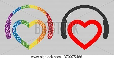 Romantic Dj Headphones Mosaic Icon Of Spheric Dots In Variable Sizes And Spectrum Colorful Color Tin