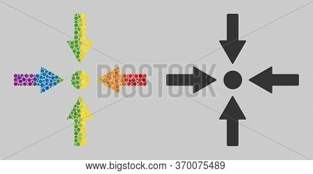 Meeting Point Composition Icon Of Round Dots In Variable Sizes And Spectrum Multicolored Shades. A D
