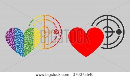 Love Heart Radar Collage Icon Of Circle Elements In Different Sizes And Spectrum Colorful Color Tone