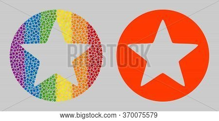 Rounded Star Composition Icon Of Spheric Dots In Various Sizes And Spectrum Colored Color Tones. A D