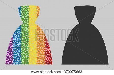 Female Dress Mosaic Icon Of Round Items In Different Sizes And Spectrum Colored Color Tinges. A Dott
