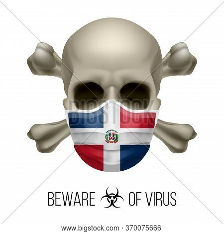 Human Skull With Crossbones And Surgical Mask In The Color Of National Flag Dominican Republic. Mask