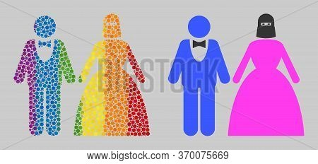 Muslim Marriage Couple Composition Icon Of Round Dots In Various Sizes And Rainbow Multicolored Colo