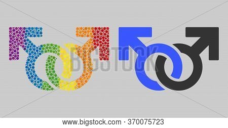 Gay Pair Symbol Collage Icon Of Round Items In Different Sizes And Spectrum Colored Color Tones. A D