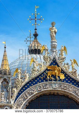 St Mark`s Basilica Or San Marco Closeup, Beautiful Rooftop Against Sky, Venice, Italy. Medieval Cath