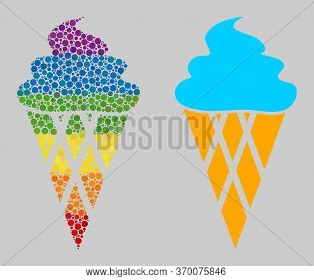 Icecream Collage Icon Of Round Dots In Different Sizes And Spectrum Colored Color Hues. A Dotted Lgb