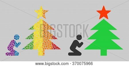 Pray To Christmas Tree Collage Icon Of Circle Elements In Various Sizes And Spectrum Colored Color T