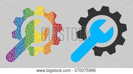 Repair Service Composition Icon Of Round Dots In Variable Sizes And Spectrum Colored Color Tinges. A