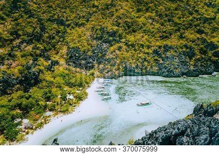 El Nido, Palawan, Philippines. Aerial View Of Star Beach. Beautiful Shallow Ocean Lagoon