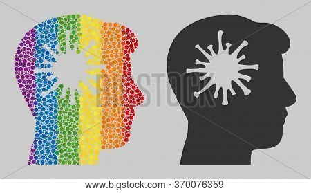 Coronavirus Brain Mosaic Icon Of Filled Circles In Various Sizes And Spectrum Colorful Color Tints.