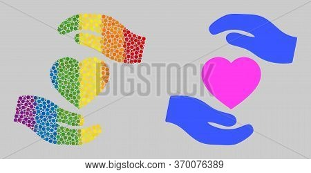 Favourite Heart Care Hands Collage Icon Of Spheric Blots In Various Sizes And Spectrum Colorful Colo