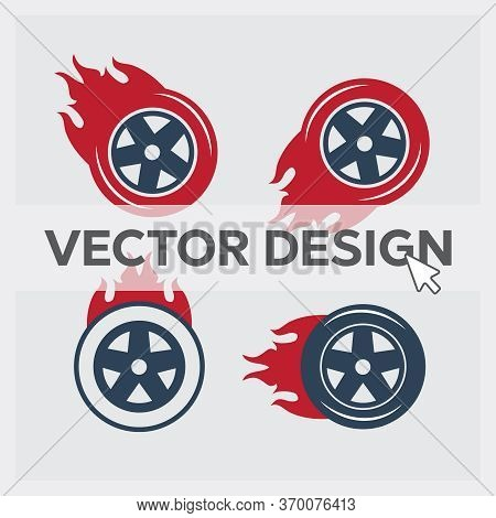 Racing Flat Labels Set. Blaze And Flash Logo, Auto Transport, Flame Tire