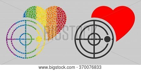 Love Heart Radar Mosaic Icon Of Circle Elements In Different Sizes And Rainbow Color Tones. A Dotted