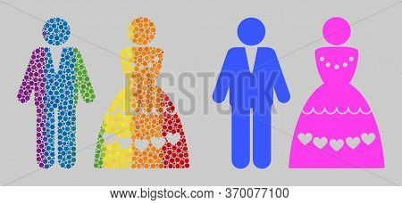 Marriage Couple Mosaic Icon Of Circle Spots In Different Sizes And Rainbow Colorful Color Tones. A D