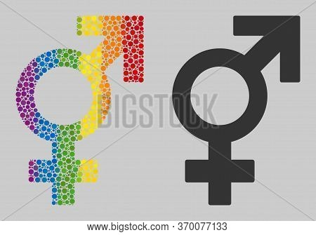 Sex Symbol Collage Icon Of Spheric Blots In Variable Sizes And Rainbow Colored Shades. A Dotted Lgbt