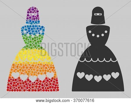 Muslim Bride Collage Icon Of Circle Spots In Various Sizes And Rainbow Multicolored Color Tinges. A
