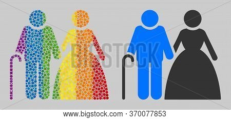 Grandparents Couple Mosaic Icon Of Spheric Dots In Variable Sizes And Rainbow Colored Color Hues. A