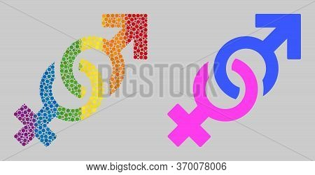 Gender Confrontation Symbol Collage Icon Of Round Items In Various Sizes And Spectrum Colored Shades
