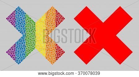 X-cross Composition Icon Of Filled Circles In Various Sizes And Spectrum Colored Shades. A Dotted Lg