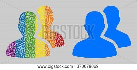 Users Mosaic Icon Of Round Items In Various Sizes And Rainbow Colorful Color Tones. A Dotted Lgbt-co