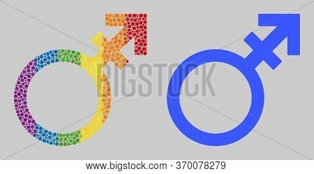 Alternate Gender Symbol Composition Icon Of Round Items In Variable Sizes And Rainbow Colored Color
