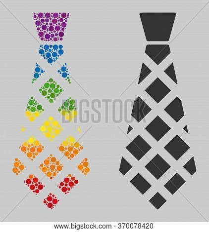 Checkered Tie Mosaic Icon Of Spheric Dots In Various Sizes And Spectrum Color Tinges. A Dotted Lgbt-