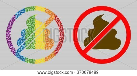 Forbidden Shit Collage Icon Of Round Dots In Different Sizes And Rainbow Multicolored Color Hues. A