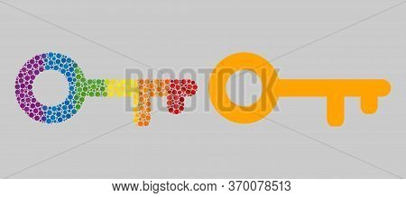 Key Mosaic Icon Of Filled Circles In Variable Sizes And Rainbow Bright Color Tones. A Dotted Lgbt-co