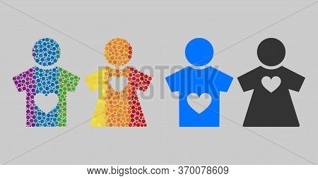 Lovers Pair Mosaic Icon Of Circle Elements In Various Sizes And Rainbow Color Tinges. A Dotted Lgbt-