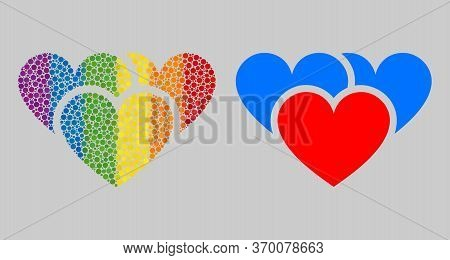 Love Hearts Collage Icon Of Round Dots In Various Sizes And Rainbow Color Tints. A Dotted Lgbt-color
