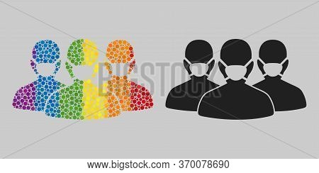 Mask People Group Composition Icon Of Filled Circles In Various Sizes And Spectrum Colored Color Hue