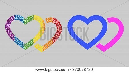 Romantic Hearts Mosaic Icon Of Spheric Dots In Different Sizes And Spectrum Colored Color Tints. A D