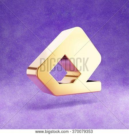 Erase Icon. Gold Glossy Erase Symbol Isolated On Violet Velvet Background. Modern Icon For Website,